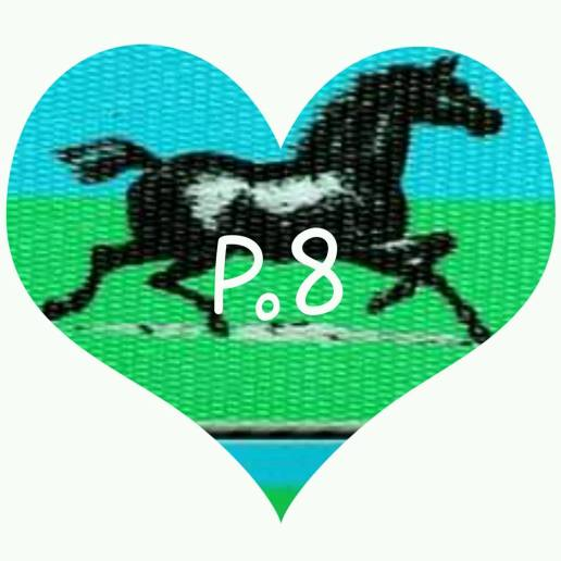 There is no heart, belt is sold blue/green back ground, and horses.